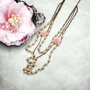 Vintage Faux Pearl Pink Rose Layered Necklace